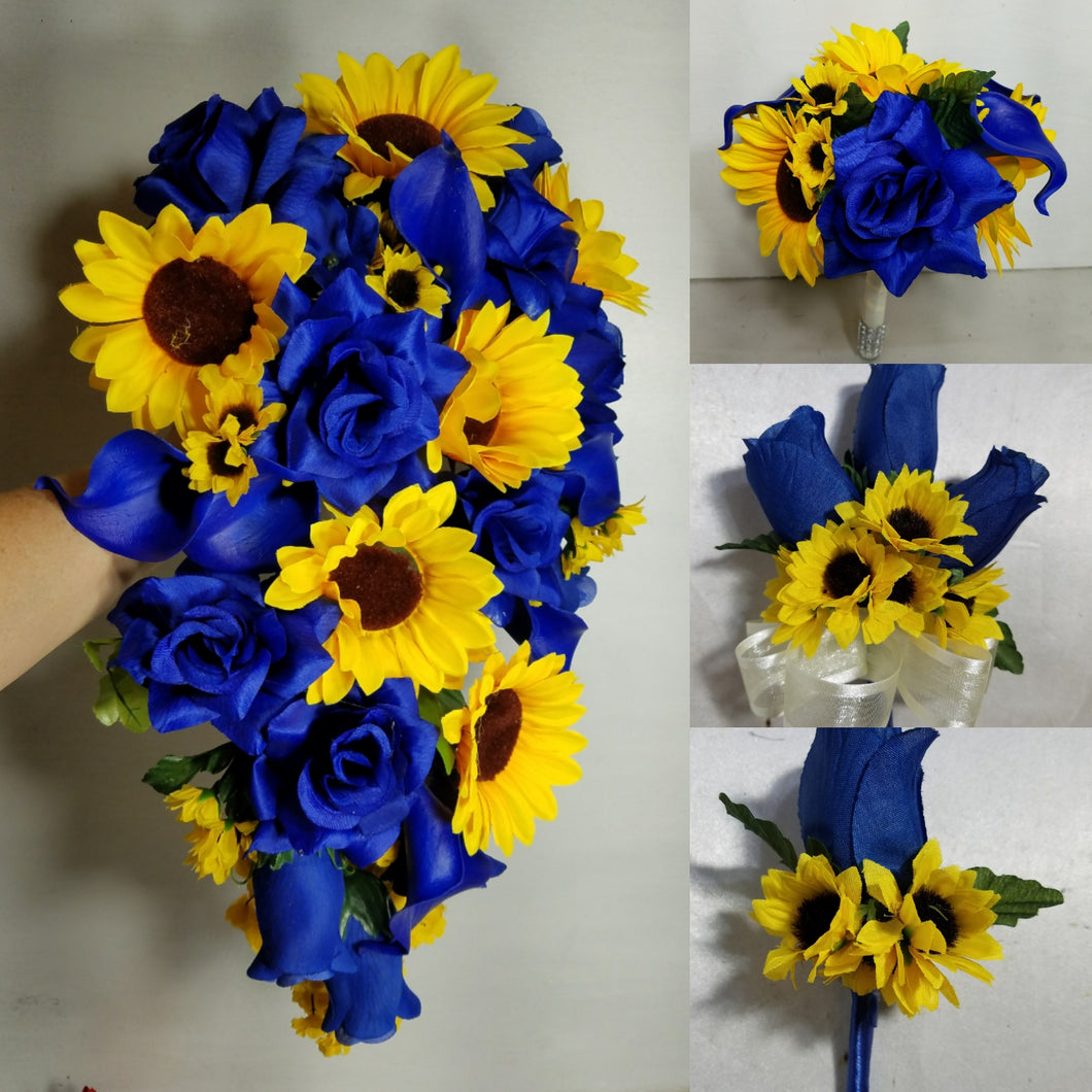 Royal Blue Rose Calla Lily Sunflower