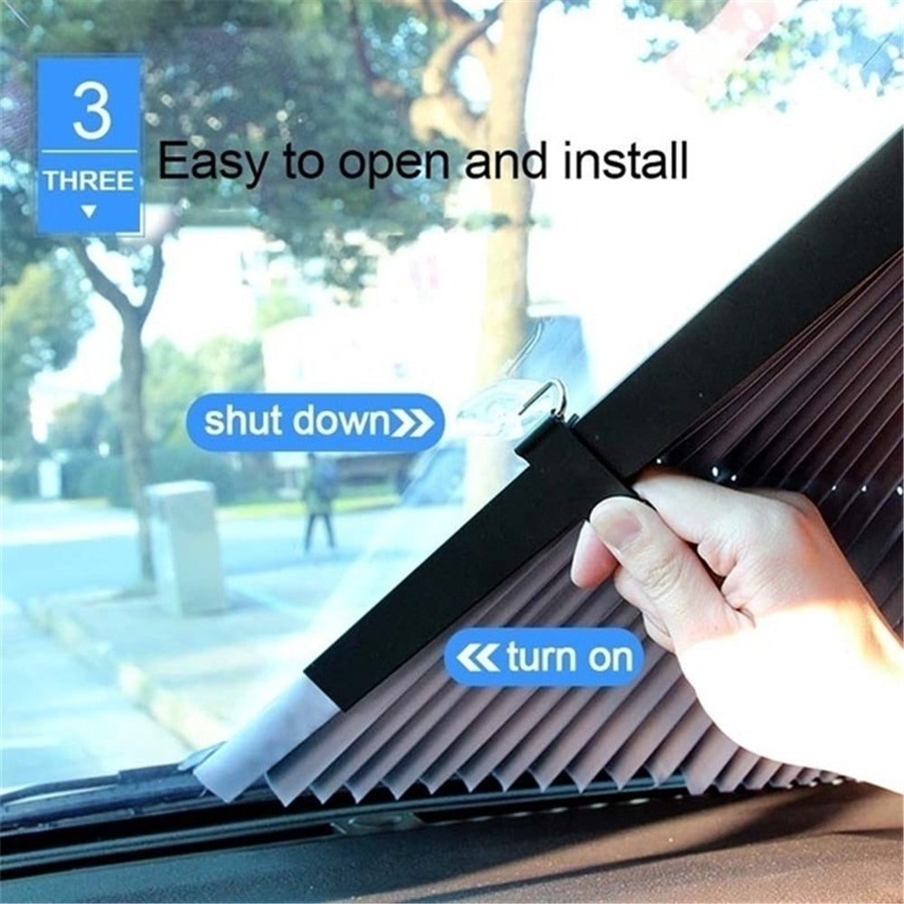 Retractable car windshield sunshade