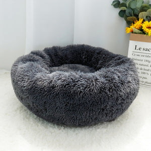 Round plush fluffy pet bed