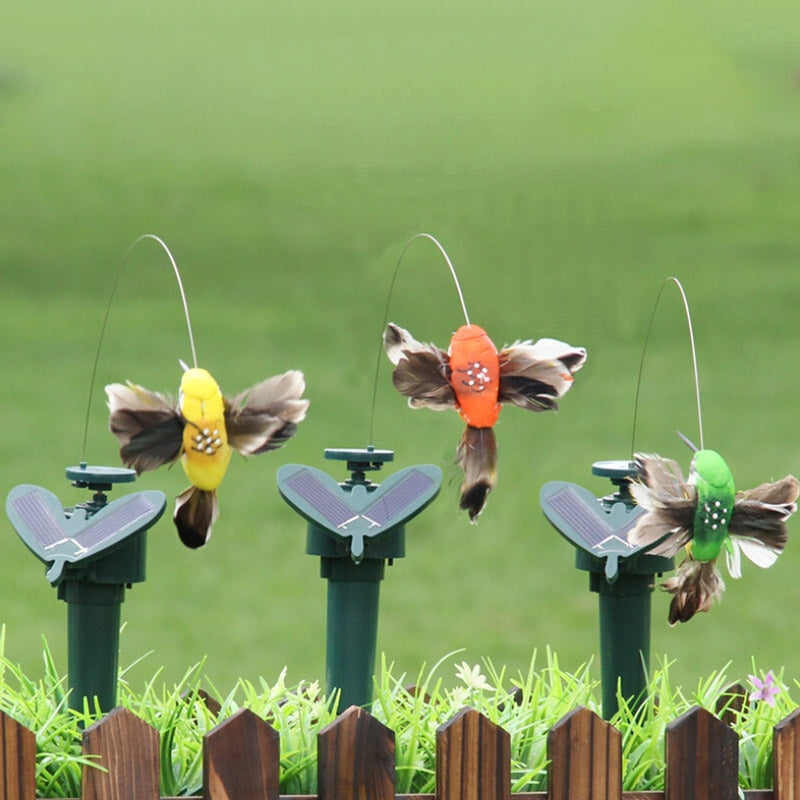 Solar powered dancing hummingbird & butterfly