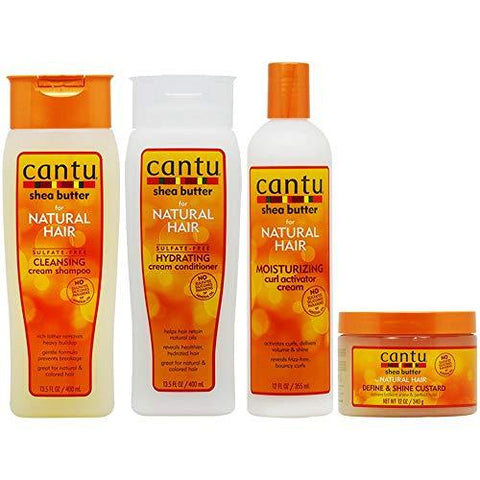 "Cantu Cleansing Cream Shampoo + Conditioner + Curl Activator Cream + Define & Shine Custard""Set"" - AU - LOL Hair & Beauty"