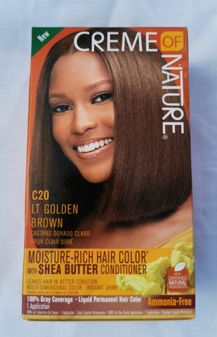 Creme of Nature Permanent Hair Color C20 LT Golden Brown - Australia Stock - LOL Hair & Beauty