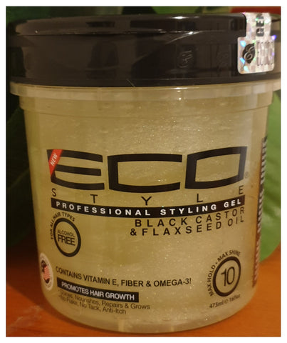 Eco Professional Styling Gel Black Castor & Flaxseed Oil 16oz - Australia Stock - LOL Hair & Beauty