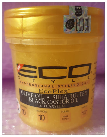 Eco Style Gold Olive Oil & Shea Butter & Black Castor Oil & Flaxseed Gel 8oz - Australia Stock - LOL Hair & Beauty
