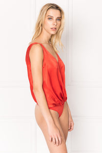 FALA Grenadine Deep-V Silk Bodysuit