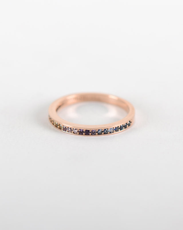 Pavé Rainbow Sapphire Ring in Rose Gold