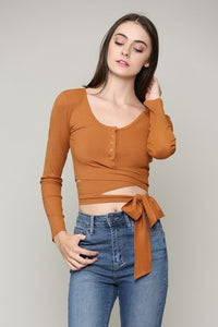 Good Vibes Wrap Crop Top (rust)