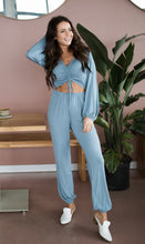 Load image into Gallery viewer, Enlighten Me Baby Blue Jumpsuit