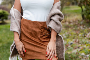 Living On The Edge Suede Skirt in Carmel