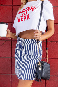 Take Me Out Striped Navy Skirt
