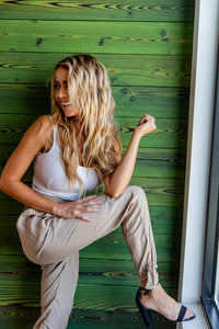 Pretty in Classics Taupe Bottom Tie Pants