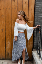 Load image into Gallery viewer, Up All Night Off The Shoulder Bell Sleeve Crop Top