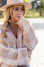 Load image into Gallery viewer, Warm Comforts Fuzzy Flannel  Cardigan