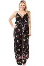 Load image into Gallery viewer, Miss Independent Floral Black Jumpsuit