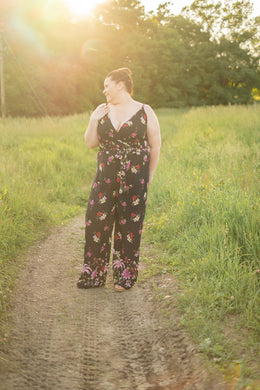 Miss Independent Floral Black Jumpsuit