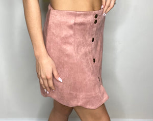 Oh Dang Suede Skirt in Blush