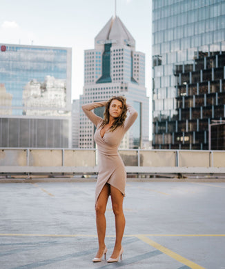 City Girl Taupe Long Sleeve Bodycon