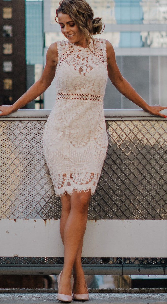 Scandalous Crochet Lace Dress In Blush