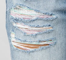 Load image into Gallery viewer, Flirty Rainbow Ripped High Waisted Denim