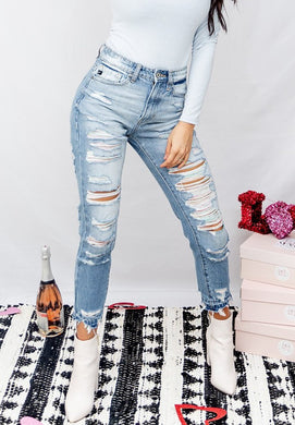 Flirty Rainbow Ripped High Waisted Denim
