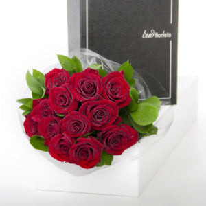 12 red roses in a luxury box