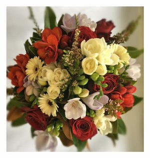 Load image into Gallery viewer, birthday flowers, red flowers, geberas, roses, fressias
