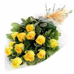 Wrapped yellow roses