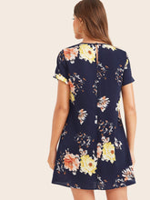 Load image into Gallery viewer, Keyhole Back Cuffed Floral Print Dress