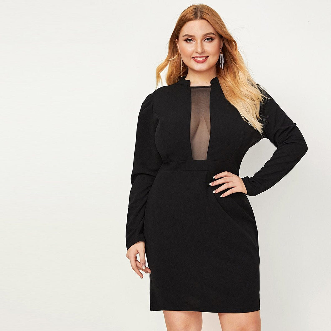 Plus Mesh Insert Bodycon Solid Dress
