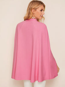 Side Split Button Through Stand Collar Cape Coat
