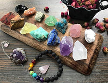 Load image into Gallery viewer, Chakra Therapy Collection(Small) 17 pcs Healing Crystal kit, 7 Raw Chakra Stones,7 Colorful Gemstones,Rose Quartz Pendulum, Chakra Lava Bracelet, Roes, Guide, COA, Best Value, Gift Ready: Home & Kitchen