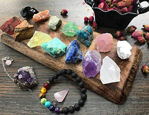 Chakra Therapy Collection(Small) 17 pcs Healing Crystal kit, 7 Raw Chakra Stones,7 Colorful Gemstones,Rose Quartz Pendulum, Chakra Lava Bracelet, Roes, Guide, COA, Best Value, Gift Ready: Home & Kitchen