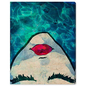 "Rivet Red Lips in The Blue Water Print Wall Art Decor, 20"" x 17"": Posters & Prints"