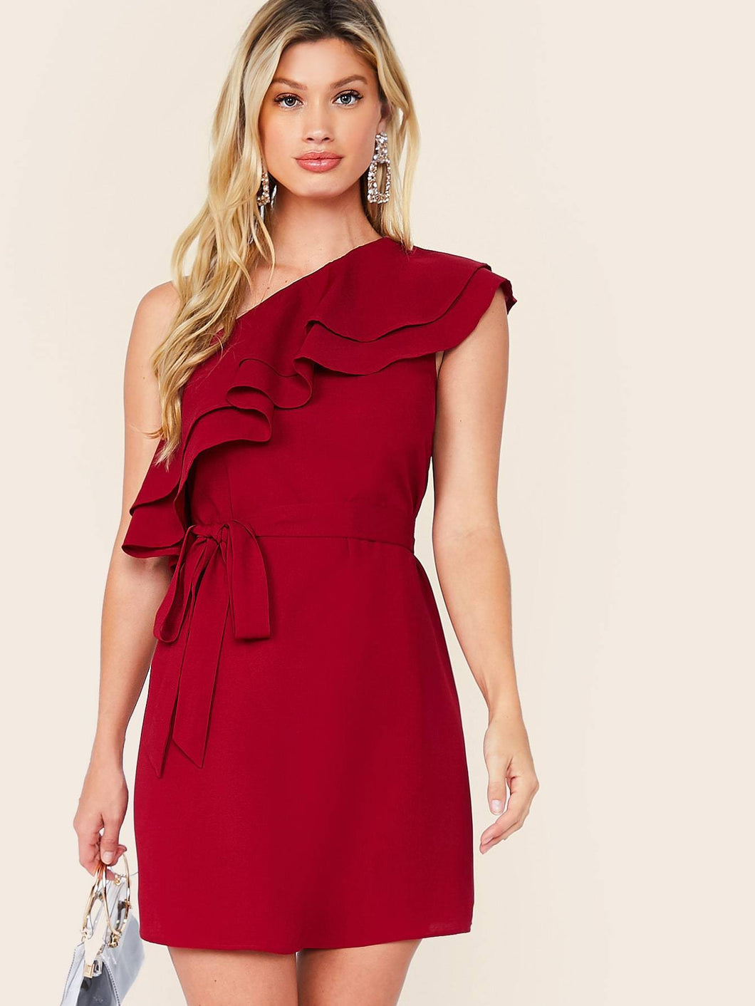 Solid One Shoulder Ruffle Trim Belted Dress