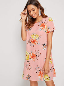 Keyhole Back Cuffed Floral Print Dress