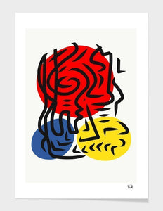 Abstract Street Graphic Red Blue Yellow Art Frame