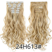 Load image into Gallery viewer, Leeons 22 Inch High Temperature Fiber Curly Synthetic 16 Clips In Hair Extensions For Women Hairpieces Ombre Brown Hair pieces