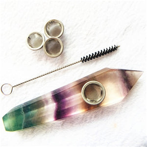 Natural Quartz Smoking Pipe  Crystal Point Wand Healing Crystal gemstoneWith Metal Filter