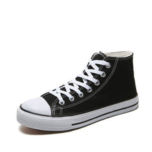 Load image into Gallery viewer, Men's Vulcanized Shoes Solid Lace Up High-top Canvas White Black Casual