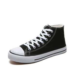 Men's Vulcanized Shoes Solid Lace Up High-top Canvas White Black Casual