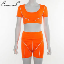 Load image into Gallery viewer, Simenual Casual Neon Color Women Two Piece Sets Fashion Reflective Active Wear Tracksuit Crop Top And Shorts Matching Set Sporty