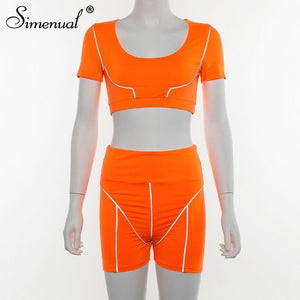 Simenual Casual Neon Color Women Two Piece Sets Fashion Reflective Active Wear Tracksuit Crop Top And Shorts Matching Set Sporty