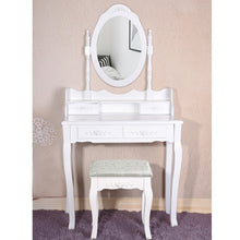 Load image into Gallery viewer, Panana 4 Drawer Vanity Table Set Dressing Table with Cushioned Stool Bedroom Makeup Table Black