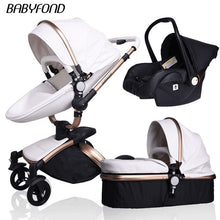 Load image into Gallery viewer, Fast shipping ! luxurious 3 in 1 baby stroller aluminium alloy baby pram leather two-way shock baby trolley with gifts umbrella
