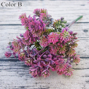 7 forks 28 Heads Branch Succulent Plants Artificial Fall Leaves Flores DIY Artificiais Wedding Decoration Plant Fake Flowers