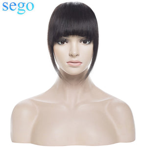 SEGO Straight 3 Clip-in Human Blunt Bangs Sweeping Side Bangs Front Hair Fringes 100% Human Hair 1 Piece Only Black Brown Blond