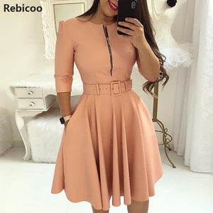 Women Fall Half Sleeve Elegant Tunic O Neck Solid Zipper Belted Pleated Casual Office  Vestidos mujer