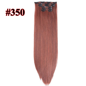 16 colors 16 clips Long Straight Synthetic Hair Extensions Clips in High Temperature Fiber Black Brown Hairpiece