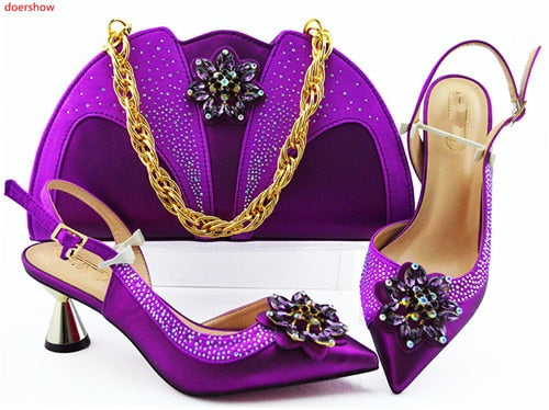 doershow Fashion Women nice purple Shoes And Bag Set To Match High Quality Italian Shoes With Matching Bags For Party!HLN1-34