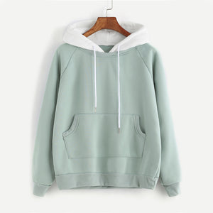 2019 Pale Green Hoodie Women Raglan Long Sleeve Cute Contrast Hooded Sweatshirt Fall Pocket Drawstring Hoodies Pullover